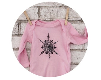Long Sleeved Snowflake Infant Creeper, Baby Bodysuit, Onepiece, Cotton Snapsuit, Winter, Christmas, Snowing, Holiday, Snow