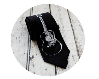 Hand Screen Printed Guitar Tie, Acoustic String Instrument, Men's Accessories, Gift For Men, Groom, Groomsmen, Black Tie, Musician, Music