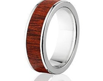 New Blood Wood Rings, Exotic Hard Wood Wedding Band w/ Comfort Fit: 7F_Blood Wood