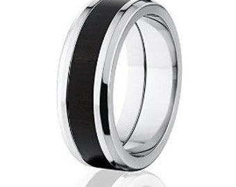 New African Black Wood Rings, Exotic Hard Wood Wedding Band: 8B_African Black Wood
