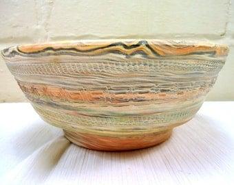 Vintage 1970s Comanche Swirl Pottery Bowl