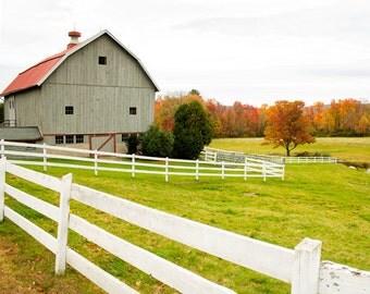 Barn photography Gray barn  new england fall landscape photography white fence orange autumn trees barn wall art