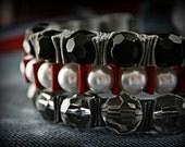 Ribbon Bracelet -Twillypop Drama Queen Ribbon Bracelet Trio. Statement Bracelet. Cuff. Red and Black.
