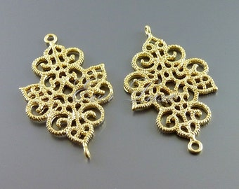 2 beautiful floral lace filigree connectors, pendants, brass flower findings, jewelry making, craft supplies 1024-MG (matte gold, 2 pieces)
