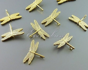 2 dragonfly connector charm / insect necklace components / flying dragonfly with gold wings 1042-MG