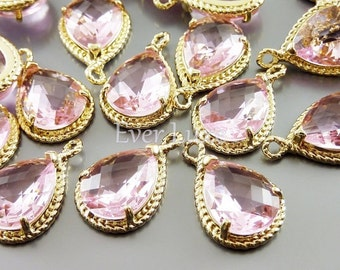 2 pink glass stone with rope rim pendants, bridal / wedding jewelry, DIY weddings, supplies 5054G-PK (bright gold, pink, 2 pieces)