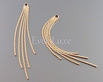 2 shiny rose gold snake chain tassel charms, dangles for earrings, necklace pendants, jewelry supplies 1755-BRG