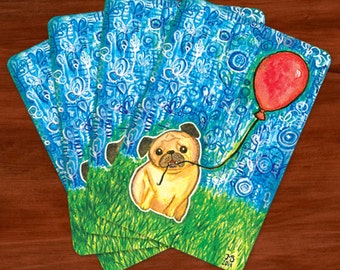 Pug & Red Balloon 4x6 Postcards - Set of 4