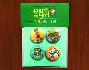 "1"" Pin Back Buttons - Set of 4"