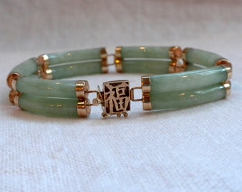 Jade 14 kt Gold Bracelet Double Bars