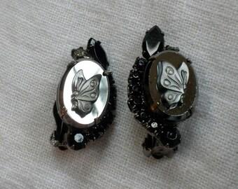 Juliana Hematite Butterfly Cameo Earrings