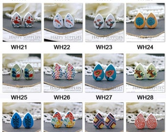 Buy 1 Get 1 Free - All Design Wooden Cabochon - Tear Drop  Handmade Photo Wood Cut Cabochon (Back White) (pp)(WH01--WH46)