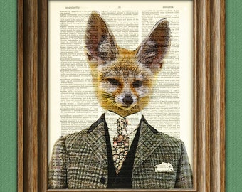 Flavio the Fennec Fox in a suit illustration beautifully upcycled dictionary page book art print