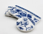 Broken China Mosaic Tiles - Cabochon -Recycled Plates - Blue Flowers - Floral  - Set of 3