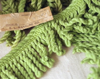 Vintage Lime Green Bullion Fringe Trim - Cotton Fiber Fringe Pillow Trim - 2 yards