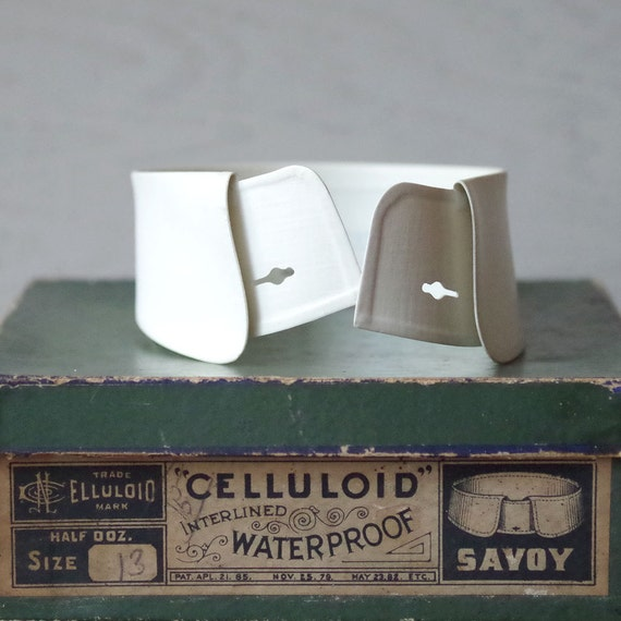 Antique Mens Celluloid Collar Victorian Neckware Steampunk