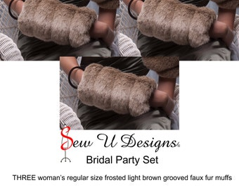 Winter wedding Bridal party set THREE regular size faux fur muffs Created from frosted light brown grooved faux furs