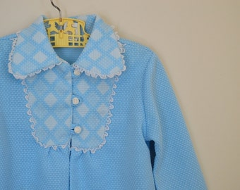 Vintage Girl's Pale Blue Spring Jacket with Argyle Print and Lace Trim - Size 4