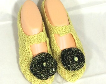 Cosy House Slipper Socks  (Yellow, with black and gold flowers)