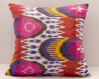20x20 multicolored ikat pillow cover, hot pink, blue, coral, yellow, white, pillows, ikats, cushion case