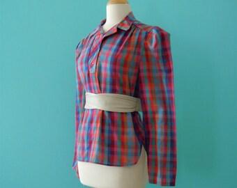 vintage 70's rainbow plaid buttoned top // plaid blouse