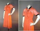 1930s vintage dress 30s BRIGHT SALMON CORAL sheer crepe black velvet rayon slip and dress