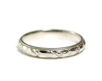 Sterling Silver Stacker Band, Floral Wedding Band, Hand Made Jewelry, Custom size