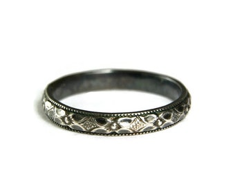 Oxidized Sterling Stacker Band, 925 Floral Band, Solid Sterling, Hand Made Jewelry, Antiqued Finish, Custom sized