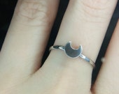 Sterling Silver Luna's Moon Princess Crescent Stacking Ring