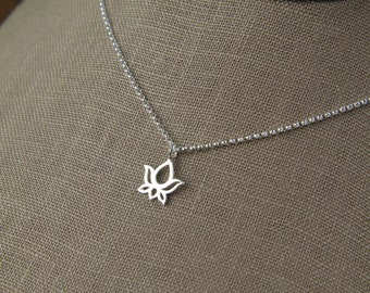 Lotus charm necklace in sterling silver, sterling silver lotus, lotus necklace, small charm, yoga inspired
