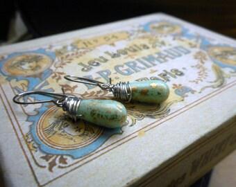 The Robins Egg Earrings. Light Blue Golden Speckled Teardrop Czech Glass Dangle Earrings