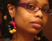SALE Jamaican Rasta Reggae Red Yellow Green Wood Beaded Hoop Earrings
