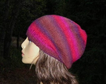 Knit Slouchy Beanie Lightweight Handmade Magenta Purple Brown Red