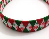 "Red, Green Christmas Peppermint Candy Woven 1"" Headband, Christmas Headband, Christmas Woven Headband, Handmade Ribbon Braided Headband"