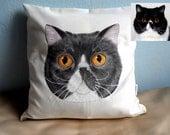 Custom Pet Portrait Pillow Cover , cat portrait - dog portrait , gift for pet lovers