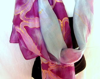 "Silk Scarf, Hand Painted Silk Scarf, Abstract, Magenta Pink Ice Blue Silk Scarf, 71"" x 18"", Gift For Her, Gift Under 50"