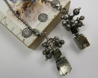 Chain Pull Pair for Ceiling Fan or Lamp. Industrial Chic Design with Pyrite Gemstone Beads and Antiqued Silver Color Findings