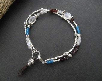 Dainty Multi Gemstone Stack Bracelet Bohemian Bracelet Moonstone Garnet Apatite Bracelet Valentine Bracelet Sundance Style jewelry