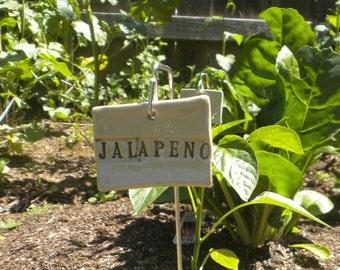 Handmade Ceramic Jalapeño Plant Marker