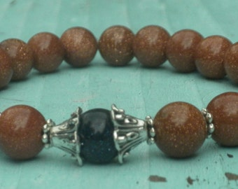Goldstone and Blue Goldstone Healing Bracelet; Energy, Protection, Yoga, Meditation, Mala, Japa