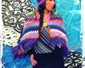 Upcycled Crochet Blanket Cape Poncho Dreadlock Fringing                     RE-Made in England UK