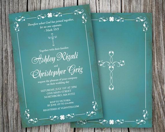 Wedding Invitation Wording Christian: Printable Turquoise Blue Christian Wedding Invitations Verse