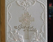 "Handmade Scripture Religious Cross Card - 5"" x 7"" - Embossed Tiger Lilies - Easter - Sympathy - God So Loved the World"