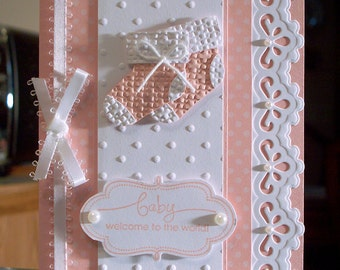 "Choose - Boy, Girl or Gender Neutral Baby Congratulations Card - 6"" x 4.25"" - Stampin Up A Word for You - Embossed Booties"