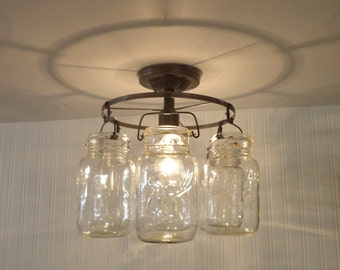 Mason Jar CEILING LIGHT Ring of Hanging Quarts