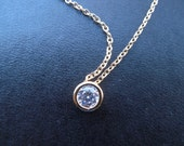 Bridesmaids gift, Wedding Gift, 16K gold plated round cubic necklace