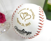 Custom Engraved Baseball, Boyfriend Gift Ideas, Bride Groom Gift, Anniversary Gift Ideas, Bridal Shower Ideas Keepsake Favors, Linked Hearts