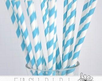 Sky Blue Paper Straws- Pack of 25 Straws