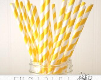 Sunflower Yellow Paper Straws- Pack of 25 Straws