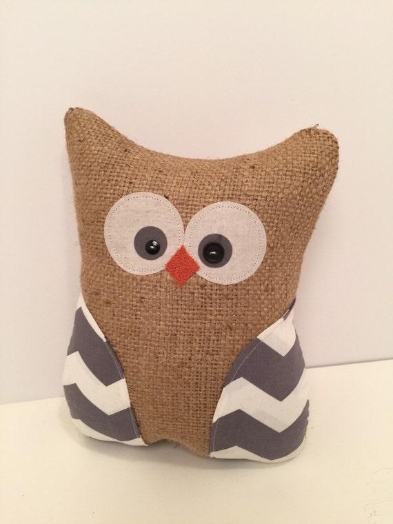 Items Similar To Handmade Owl Pillow Burlap Owl Stuffed